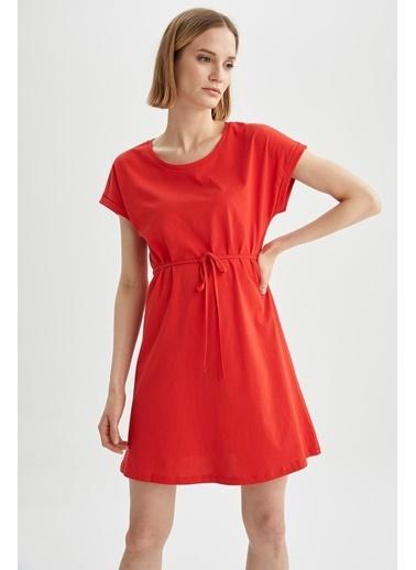 DeFacto Basic Beli Bağcıklı Elbise Kırmızı